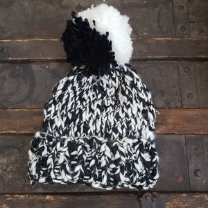 Maurices Black & White Raglan Pom Hat